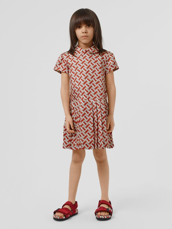 Peter Pan Collar Monogram Print Silk Dress in Vermilion Red | Burberry Hong Kong S.A.R - cell image 2