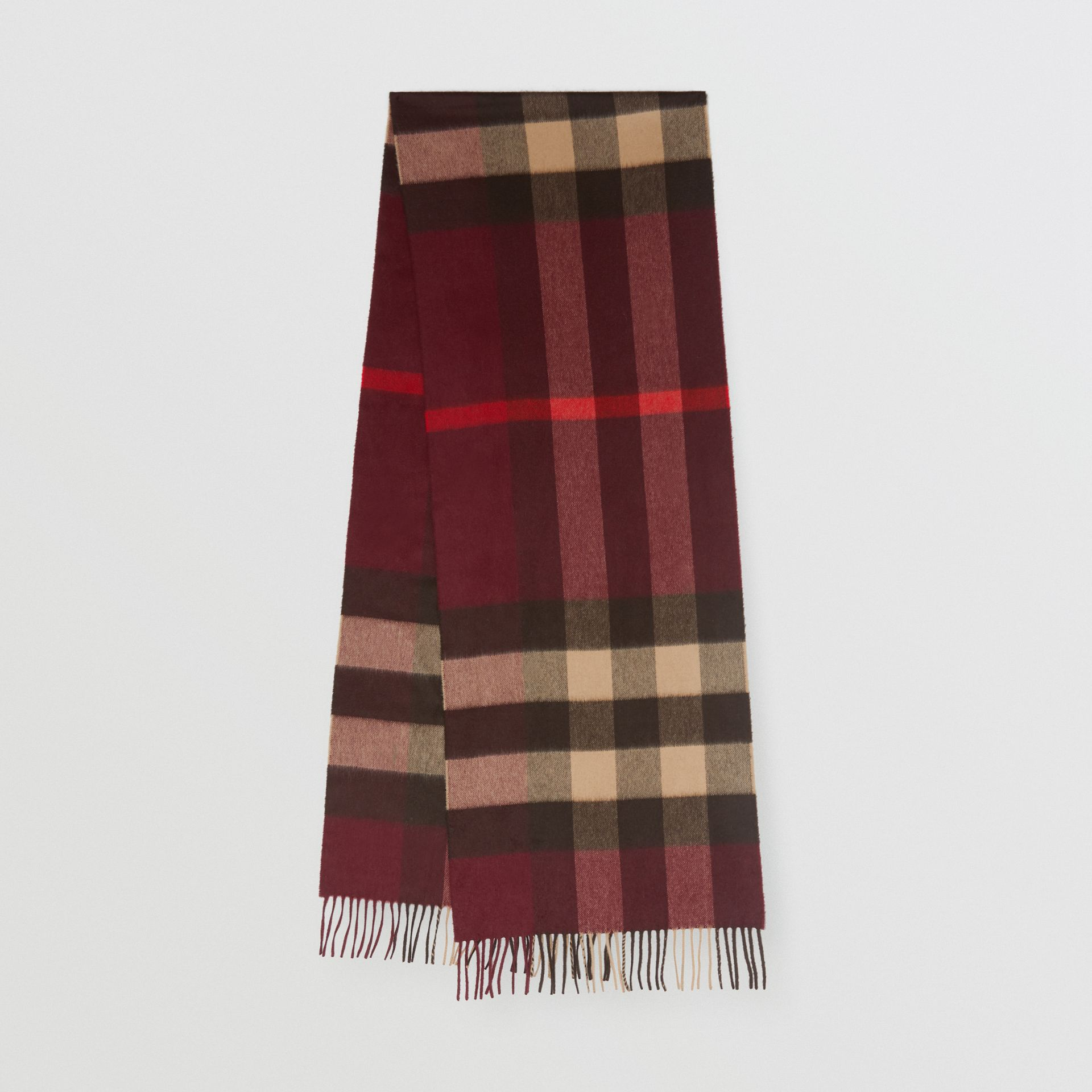 Check Cashmere Scarf in Burgundy | Burberry - gallery image 0