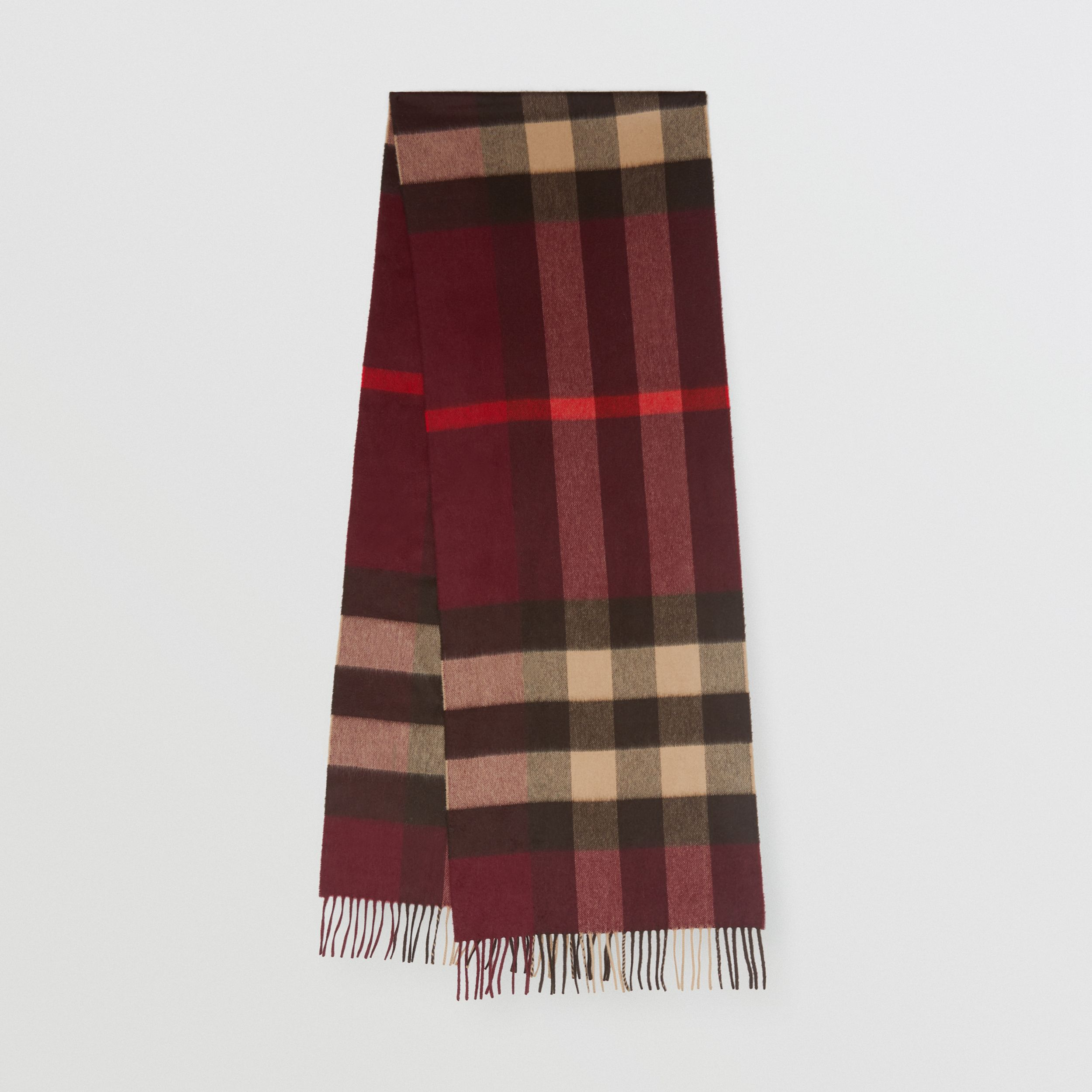 Check Cashmere Scarf in Burgundy | Burberry - 1
