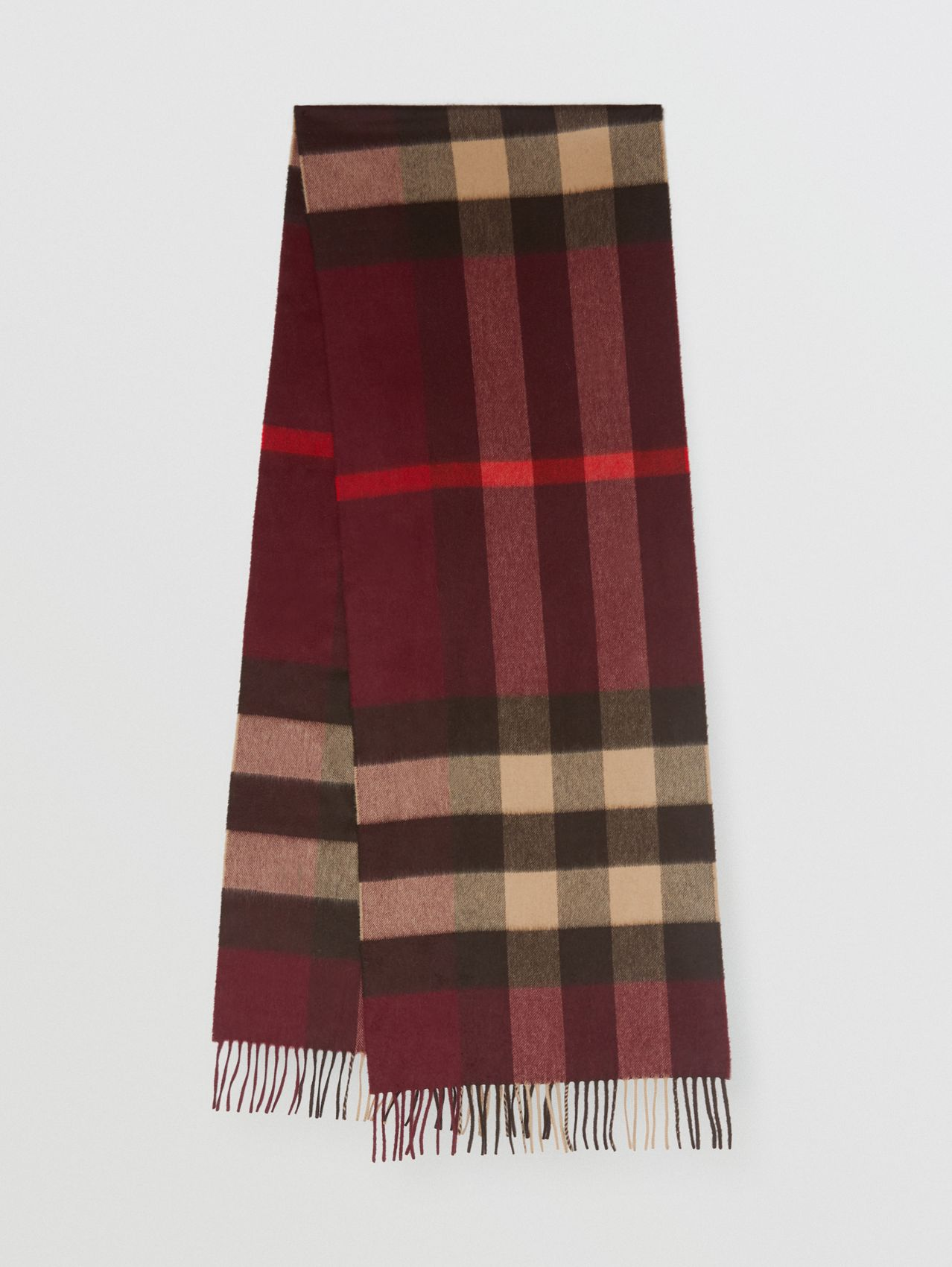 Check Cashmere Scarf in Burgundy
