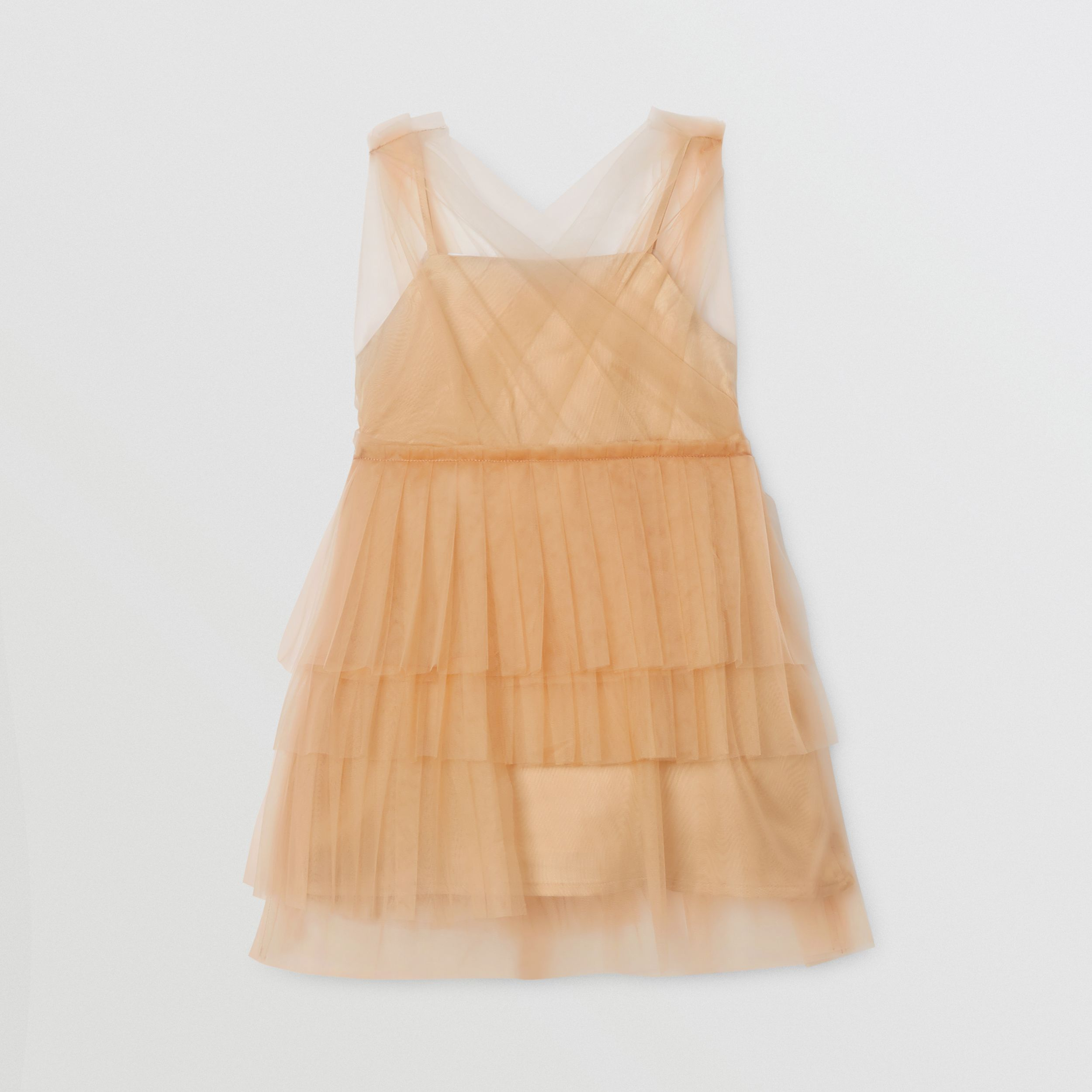 Tulle Tiered Dress in Oyster Beige - Children | Burberry - 4