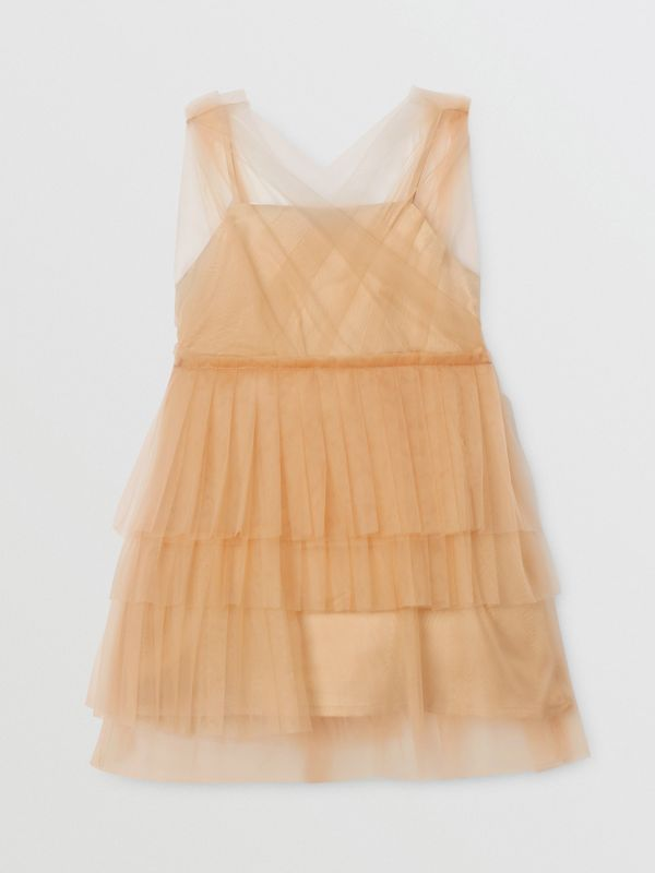 Tulle Tiered Dress in Oyster Beige - Children | Burberry - cell image 3