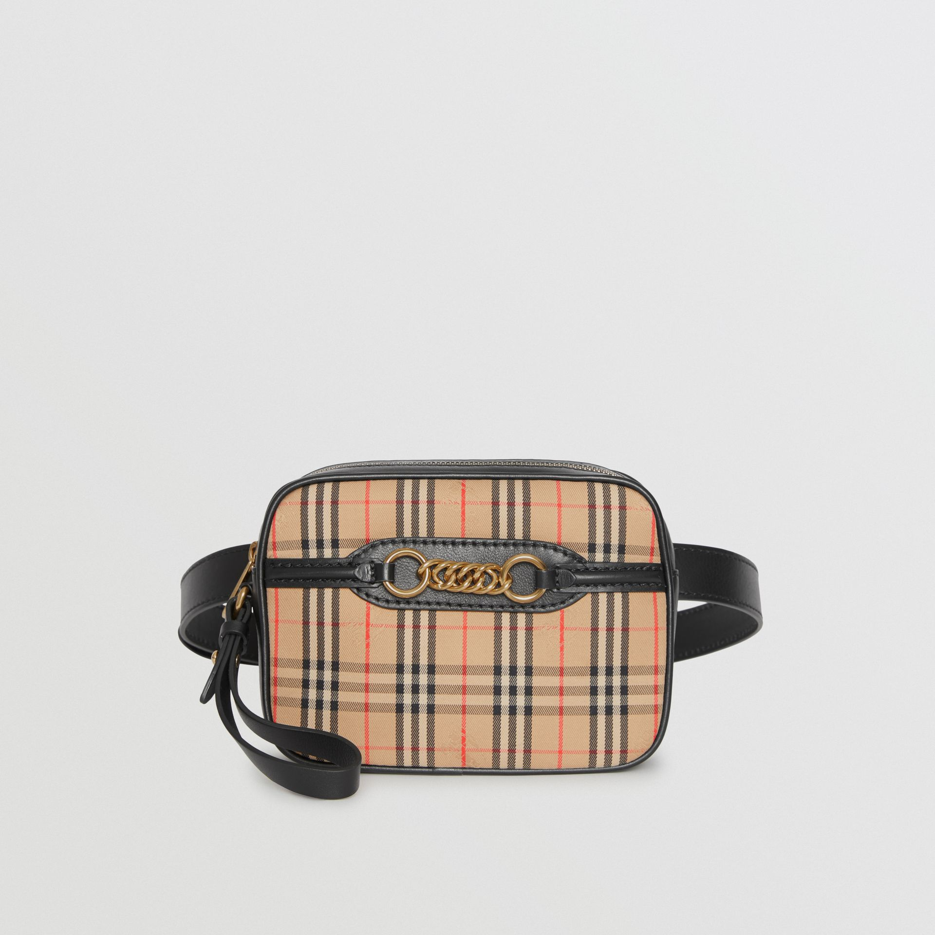The 1983 Check Link Bum Bag with Leather Trim in Black - Women | Burberry United Kingdom - gallery image 3