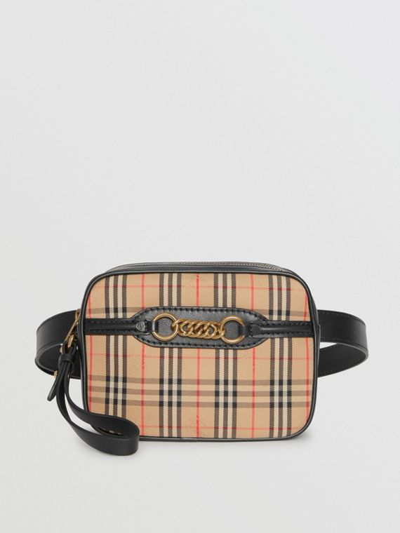 The 1983 Check Link Bum Bag with Leather Trim in Black