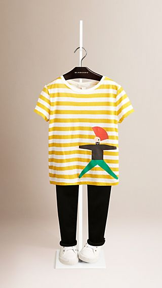 Punk Print Striped Cotton T-shirt