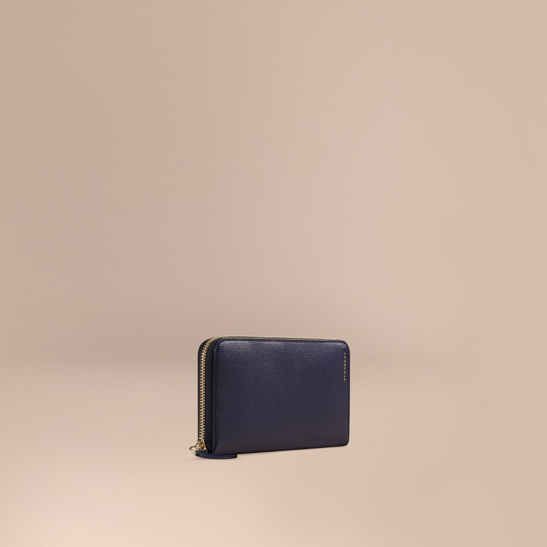 London Leather Ziparound Wallet in Dark Navy | Burberry - gallery image 1