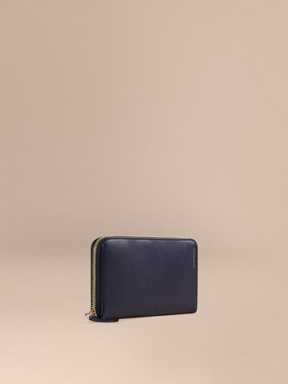 London Leather Ziparound Wallet in Dark Navy | Burberry