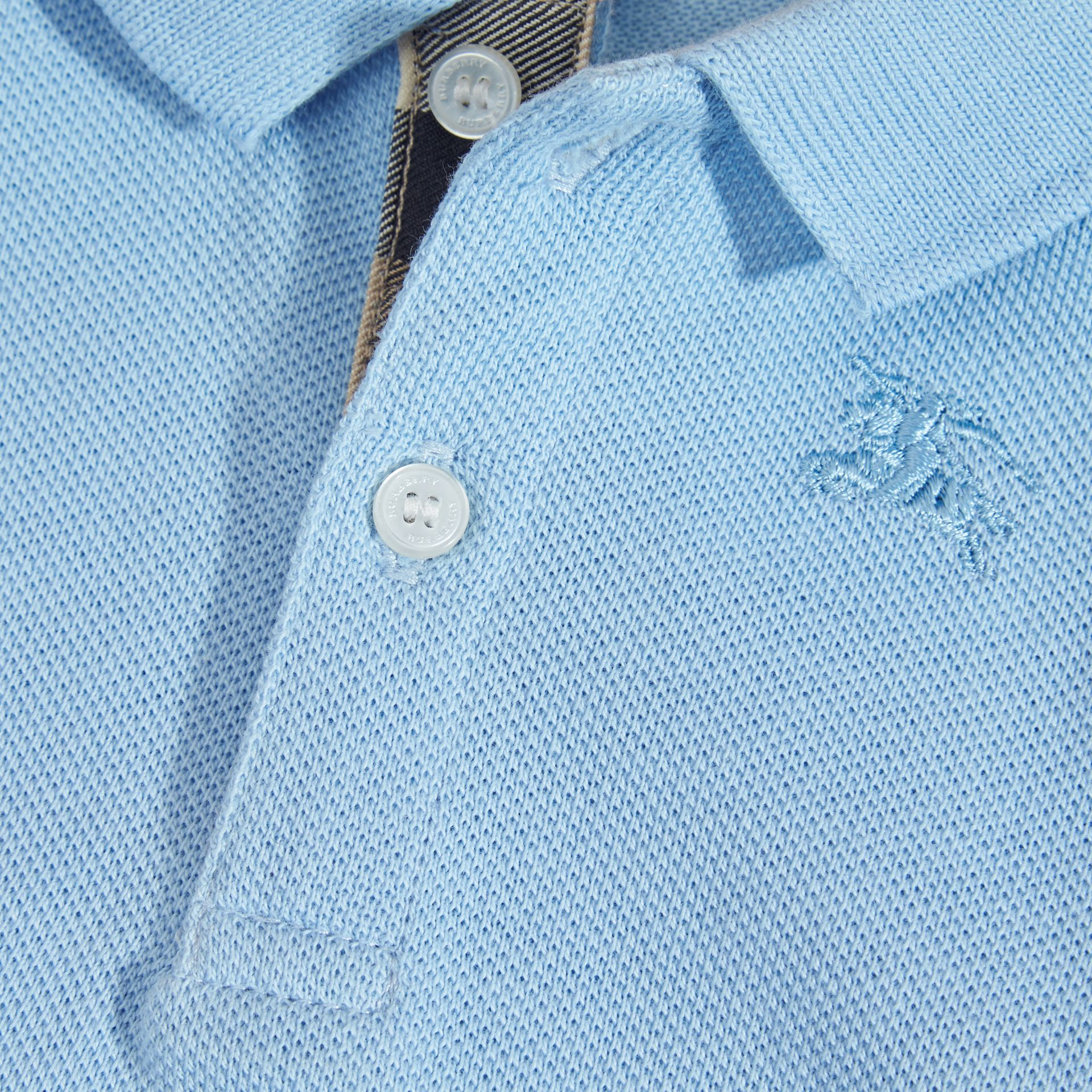 Cotton Piqué Polo Shirt Light Blue - gallery image 2