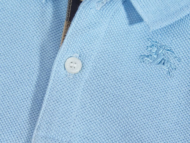 Cotton Piqué Polo Shirt Light Blue - cell image 1
