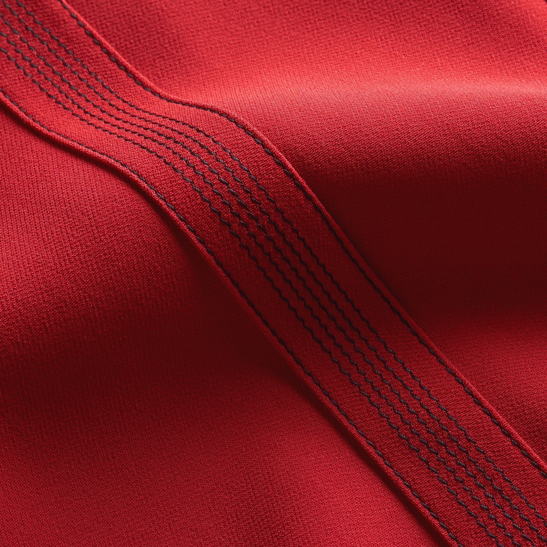 Parade red Short-sleeved Topstitch Detail Shift Dress - gallery image 2