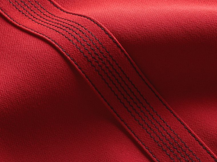 Parade red Short-sleeved Topstitch Detail Shift Dress - cell image 1
