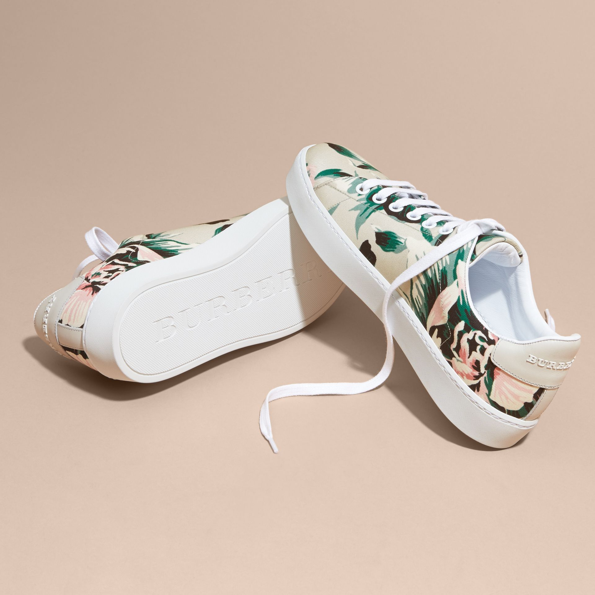 Peony Rose Print Canvas and Leather Sneakers Emerald Green - gallery image 5