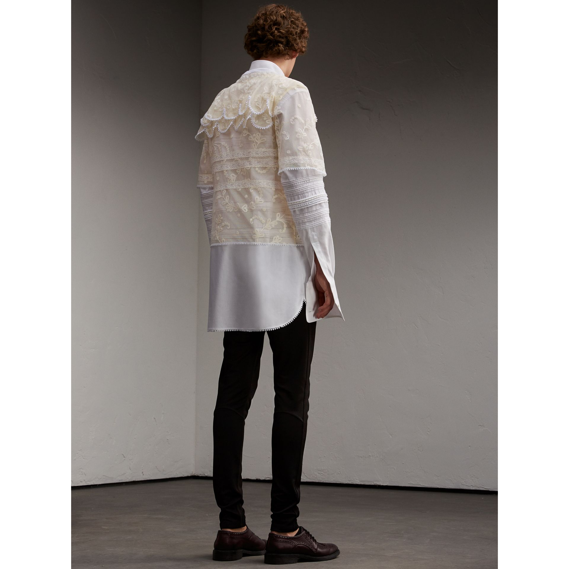 Tiered Soutache Lace T-shirt in White - Men | Burberry - gallery image 3