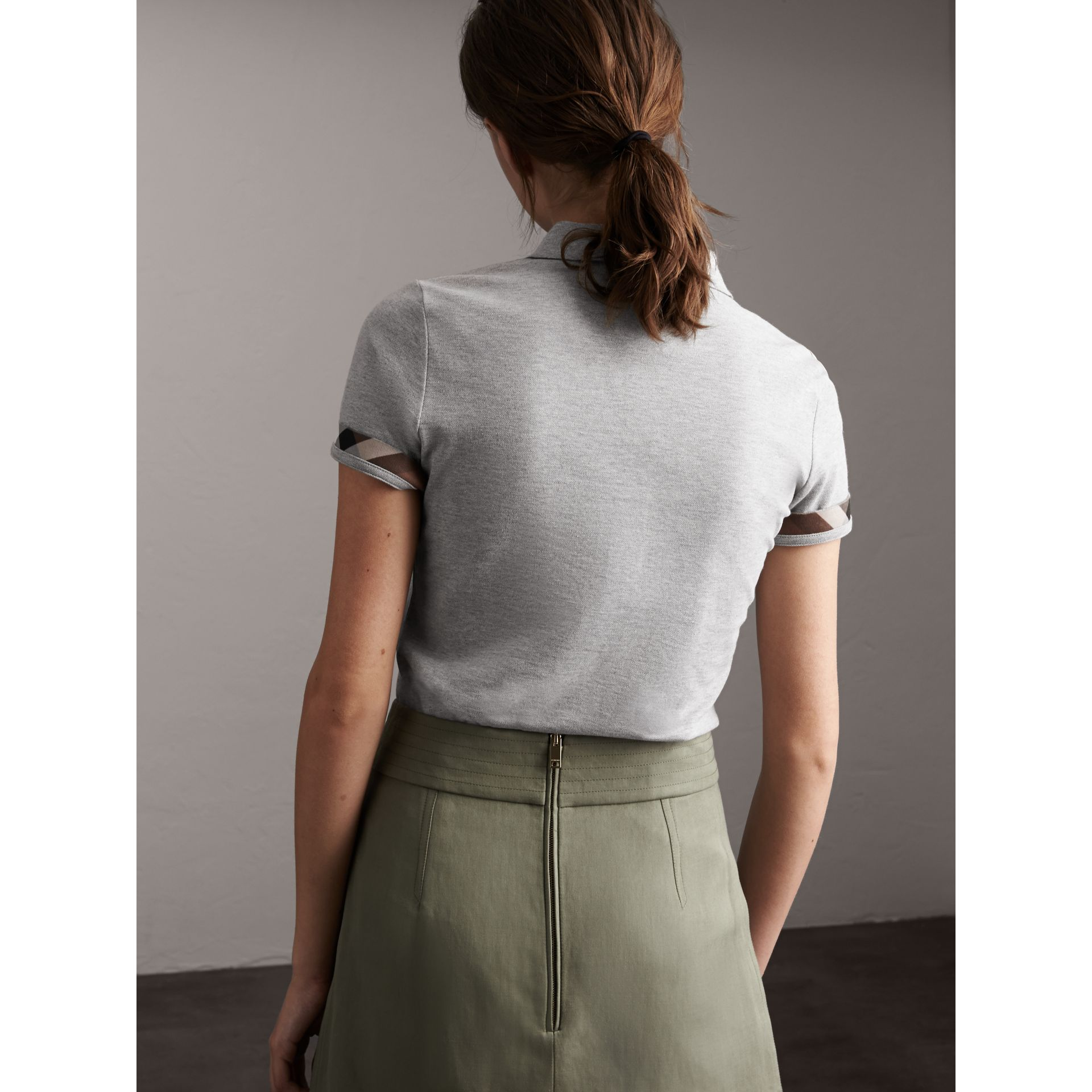 Check Trim Stretch Cotton Piqué Polo Shirt in Pale Grey Melange - Women | Burberry - gallery image 2