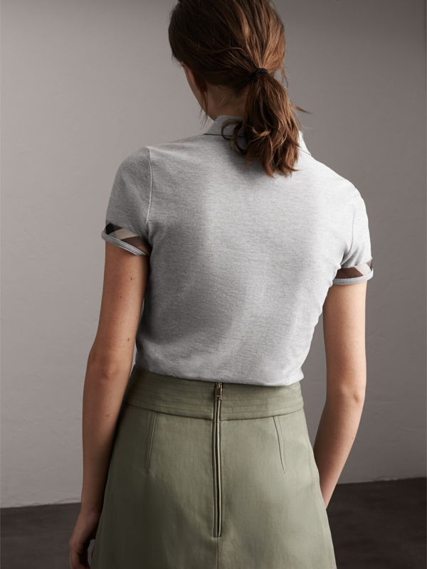 Check Trim Stretch Cotton Piqué Polo Shirt in Pale Grey Melange - Women | Burberry - cell image 2