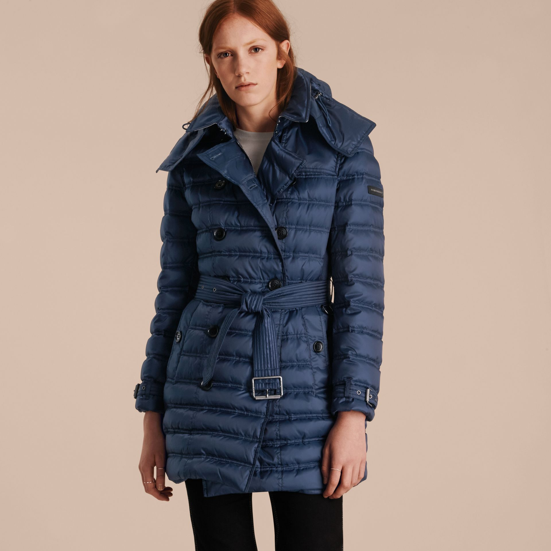 Down-filled Puffer Coat in Bright Navy - gallery image 7