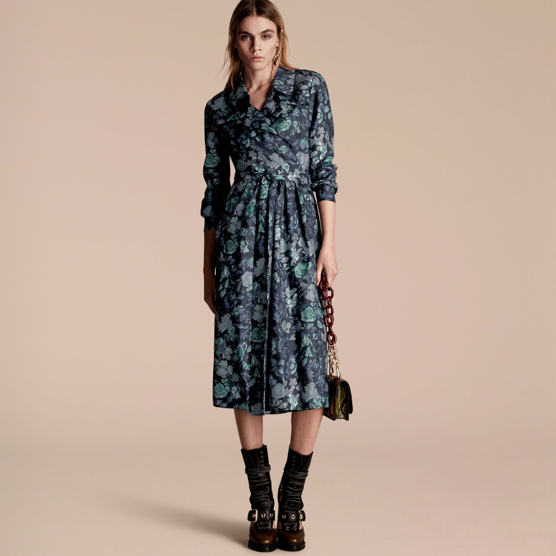 Navy Garden Floral Print Silk Wrap Trench Dress - gallery image 6