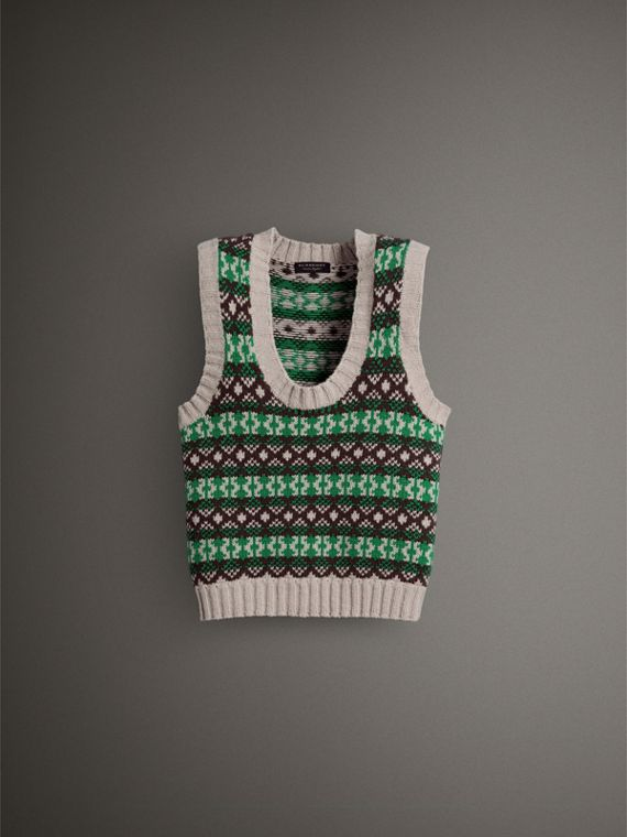 Fair Isle Cashmere Wool Tank Top in Bright Green - Women | Burberry - cell image 3