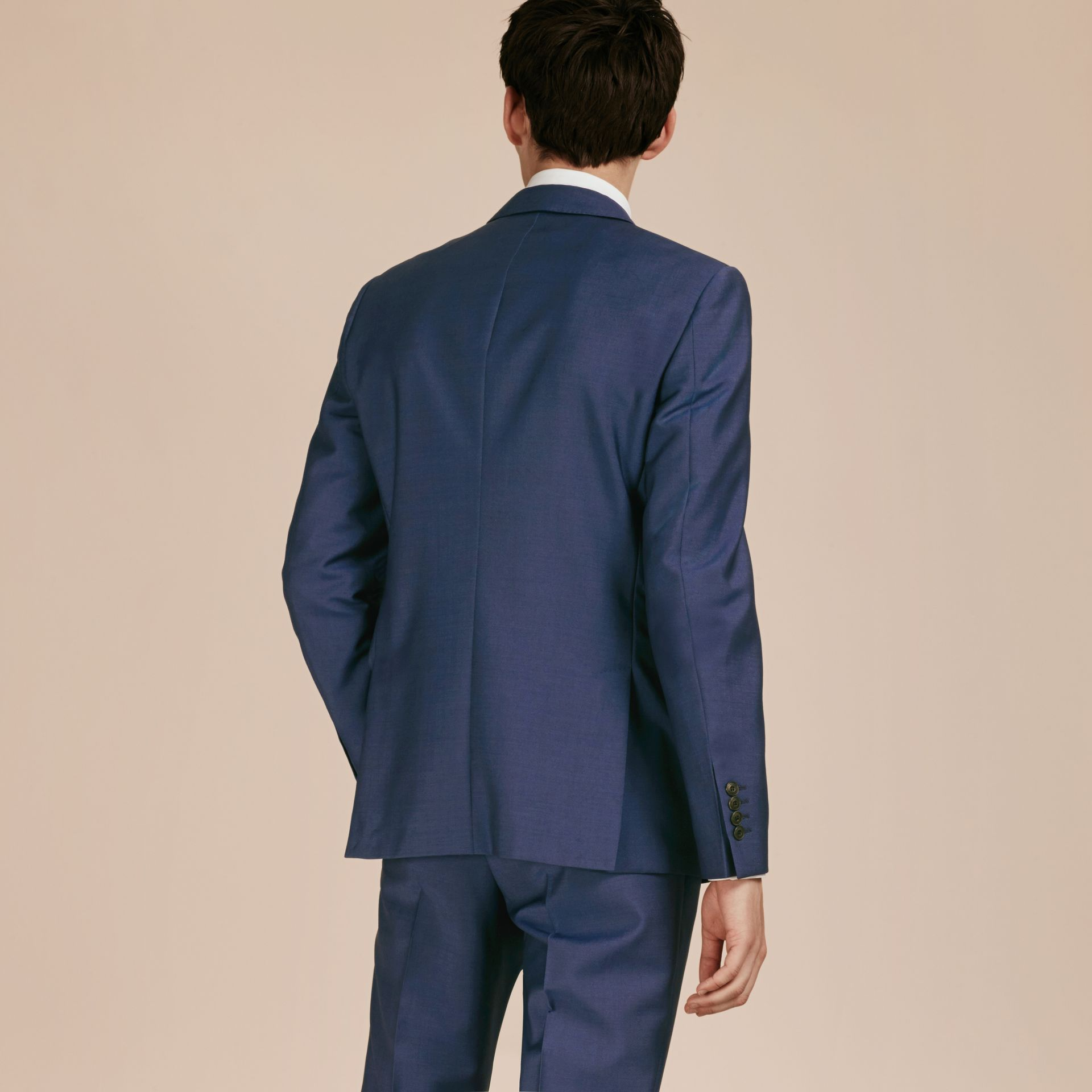 Dark canvas blue Slim Fit Wool Mohair Part-canvas Jacket - gallery image 3