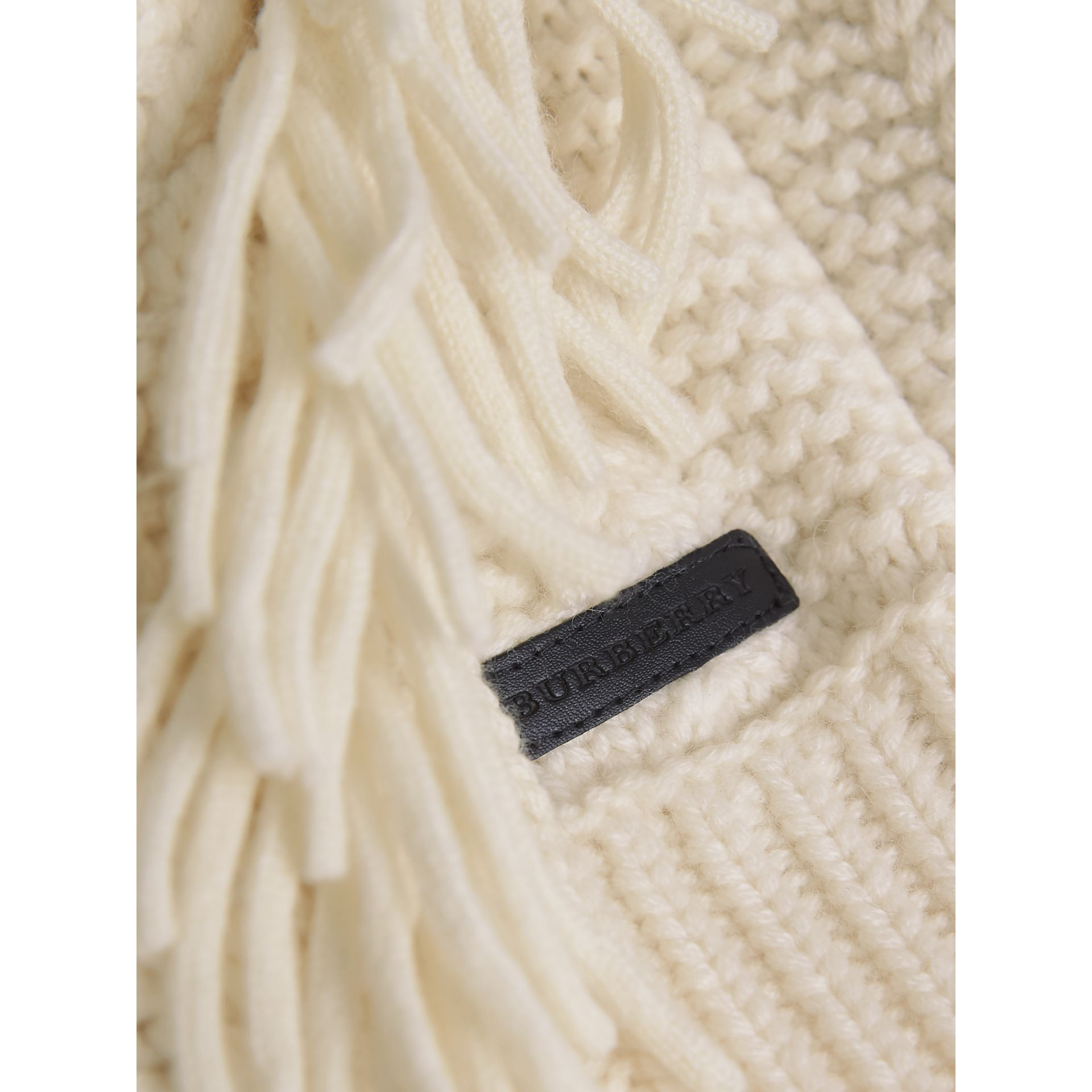 Fringed Cable Knit Wool Cashmere Sweater in Natural White - Girl | Burberry - gallery image 2