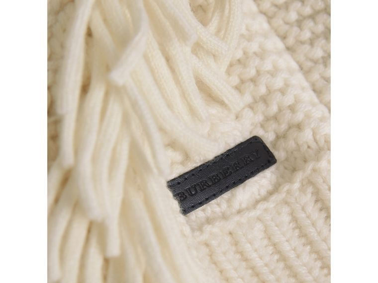 Fringed Cable Knit Wool Cashmere Sweater in Natural White - Girl | Burberry Singapore - cell image 1