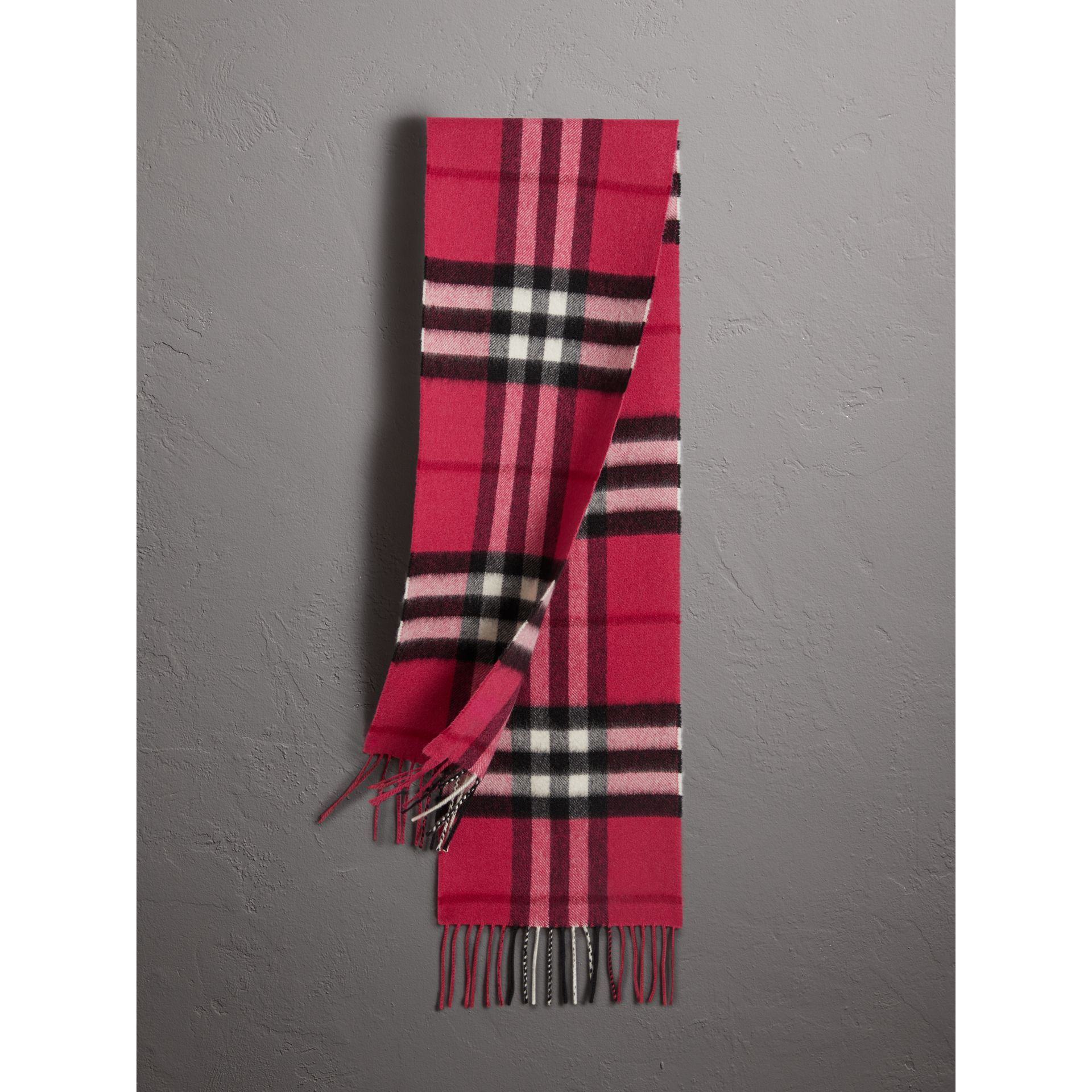 The Mini Classic Check Cashmere Scarf in Fuchsia Pink - Girl | Burberry - gallery image 0