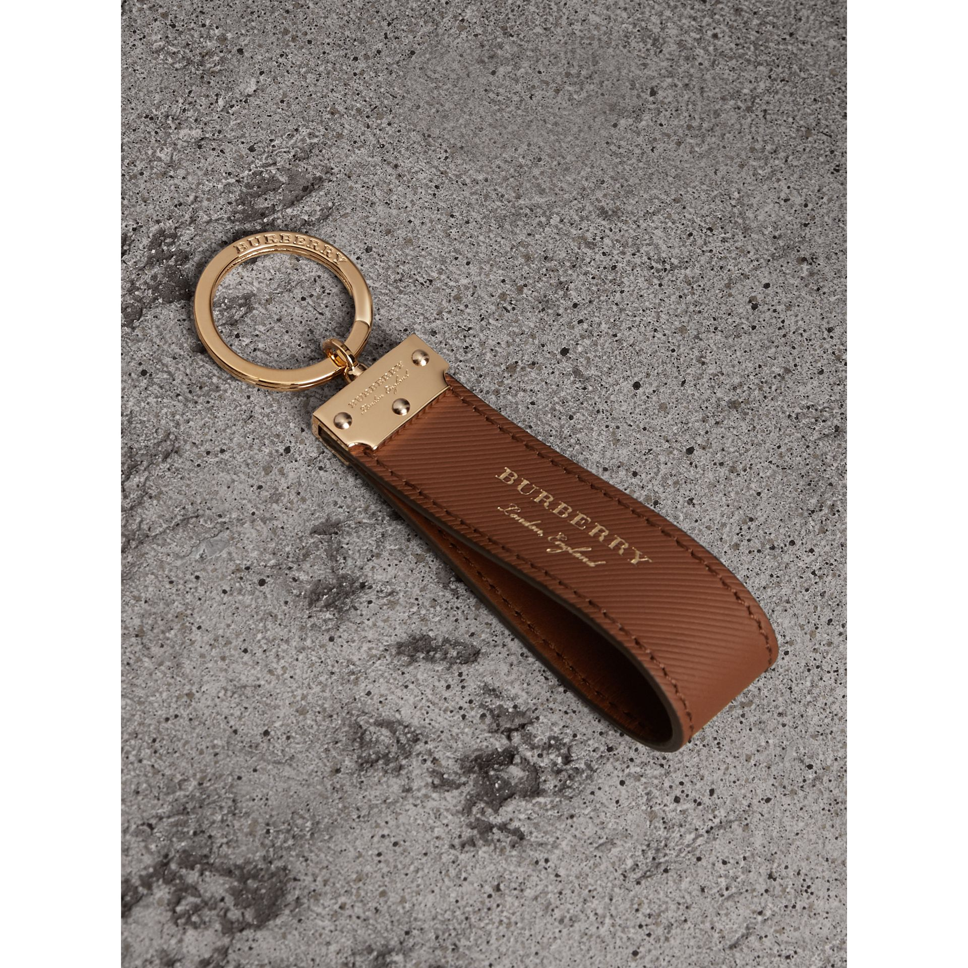 Trench Leather Key Ring in Tan | Burberry - gallery image 0