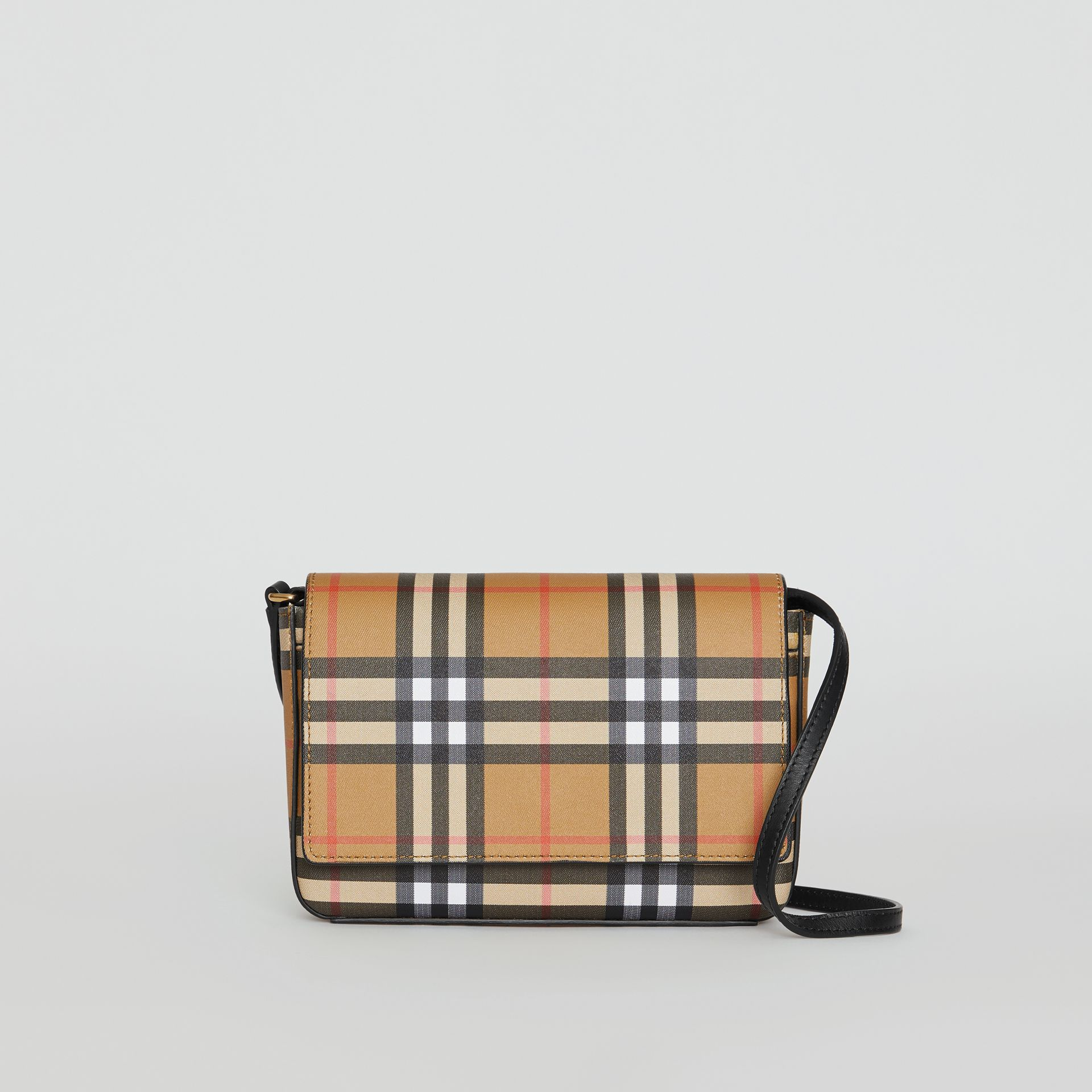 Vintage Check and Leather Wallet with Detachable Strap in Black - Women | Burberry Canada - gallery image 0