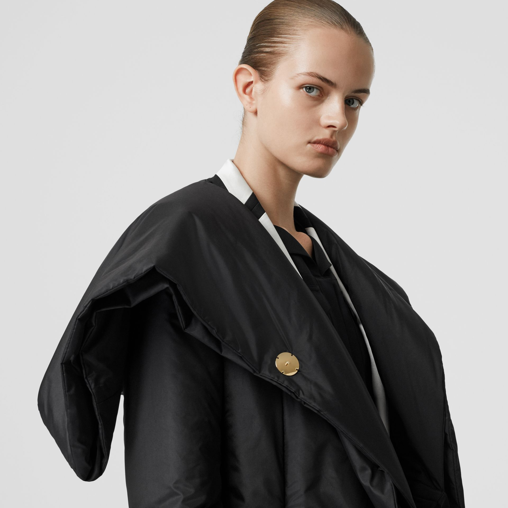 Cape Detail Silk Blend Wrap Coat in Black - Women | Burberry - gallery image 8