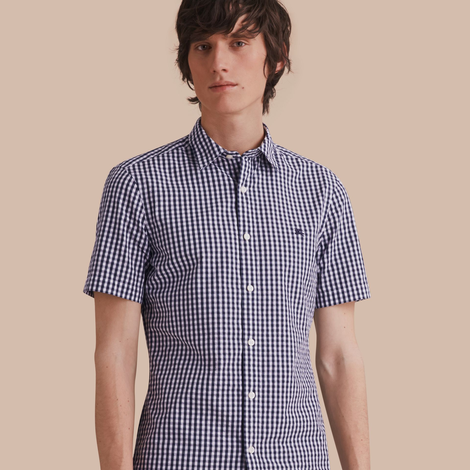 Short-sleeved Gingham Cotton Poplin Shirt in Ink Blue - Men | Burberry - gallery image 1