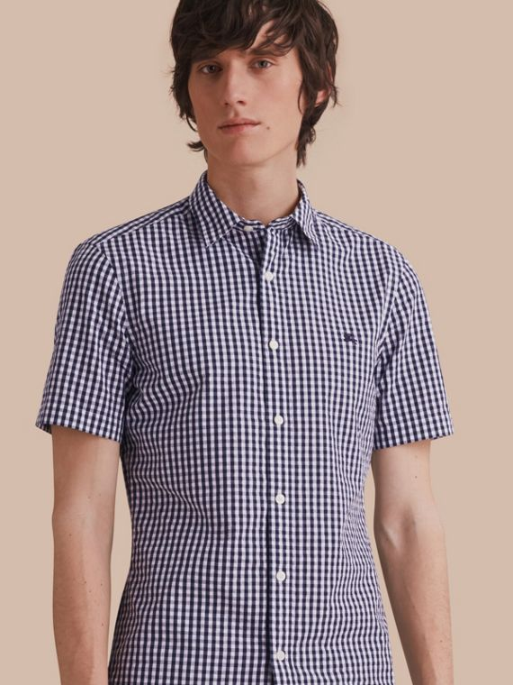 Short-sleeved Gingham Cotton Poplin Shirt Ink Blue
