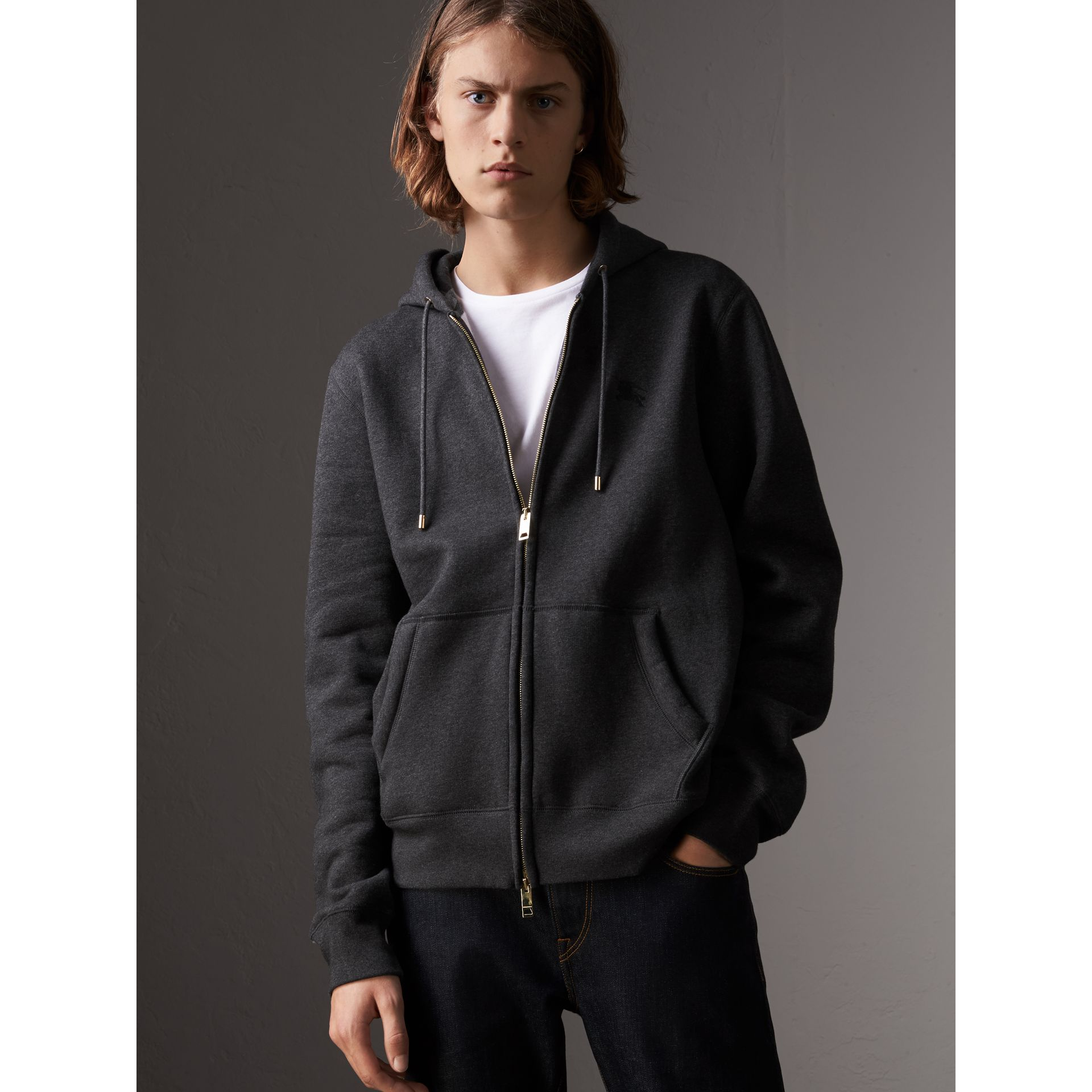 Hooded Cotton Jersey Top in Charcoal Melange - Men | Burberry - gallery image 1