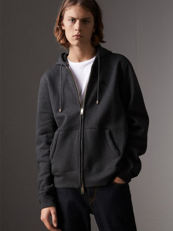 Hooded Cotton Jersey Top in Charcoal Melange