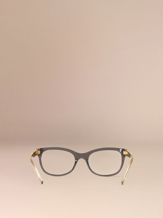 Check Detail Oval Optical Frames Dark Grey - cell image 2