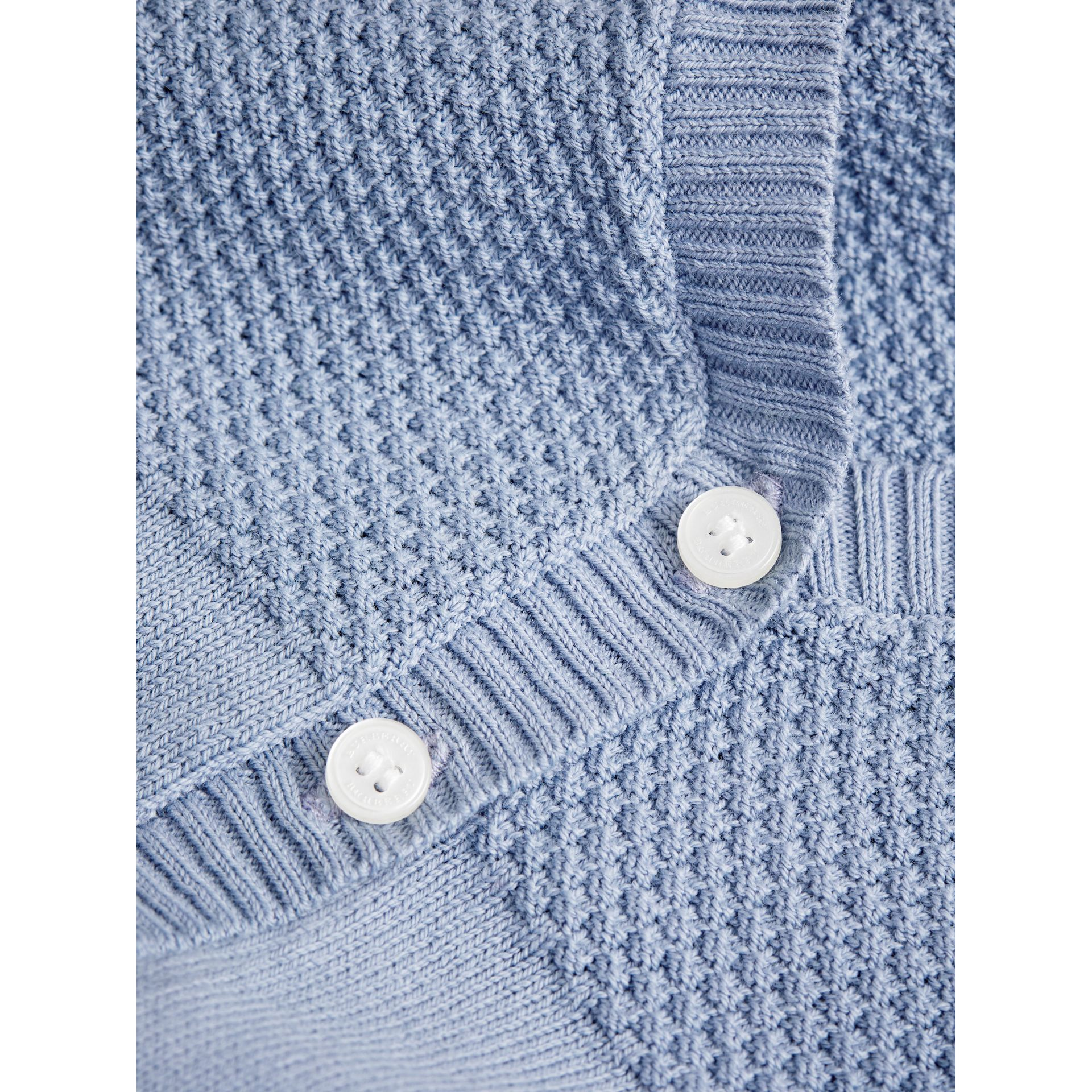 Multi-stitch Cotton Cardigan in Chalk Blue | Burberry - gallery image 1