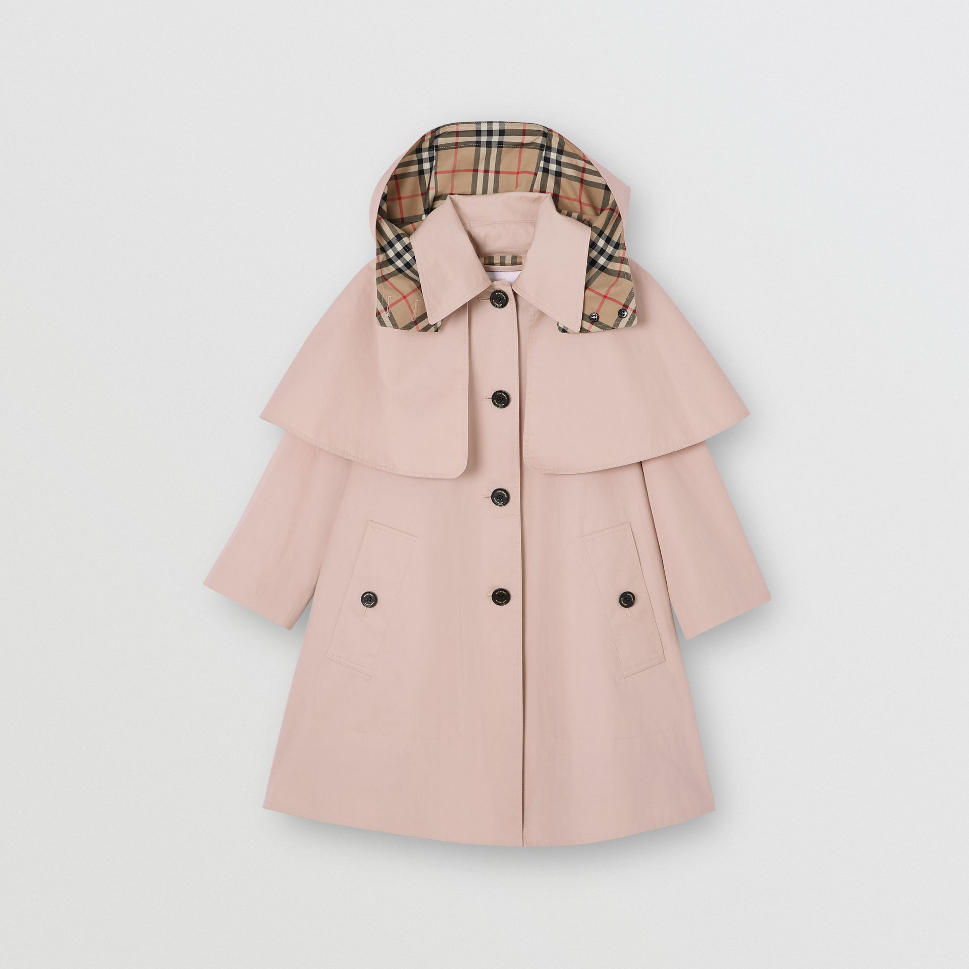 Detachable Hood Showerproof Cotton Swing Coat in Ice Pink | Burberry United Kingdom - gallery image 0
