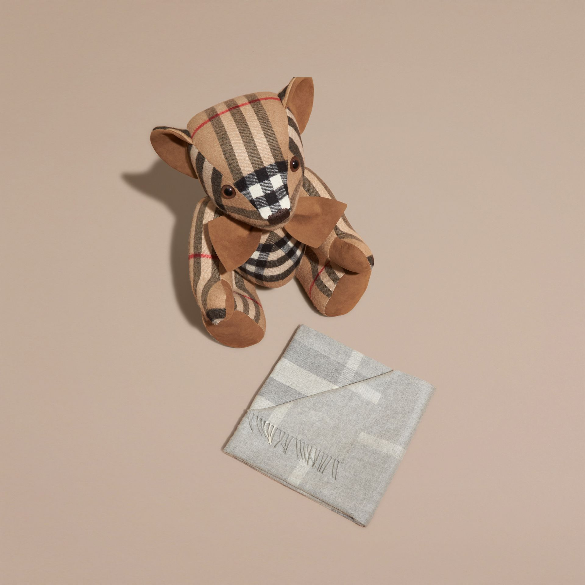 Check Cashmere Baby Blanket in Light Grey Melange | Burberry - gallery image 3