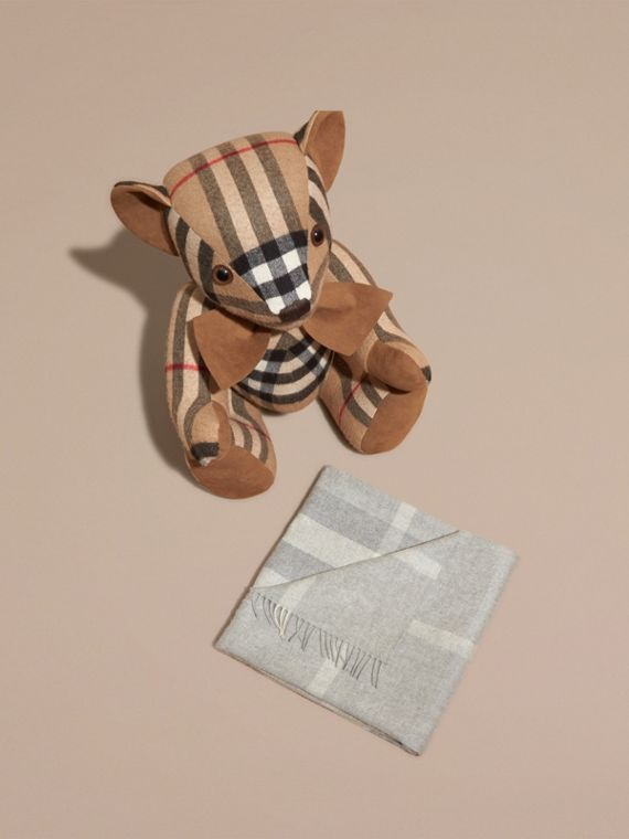Check Cashmere Baby Blanket in Light Grey Melange | Burberry Australia - cell image 2
