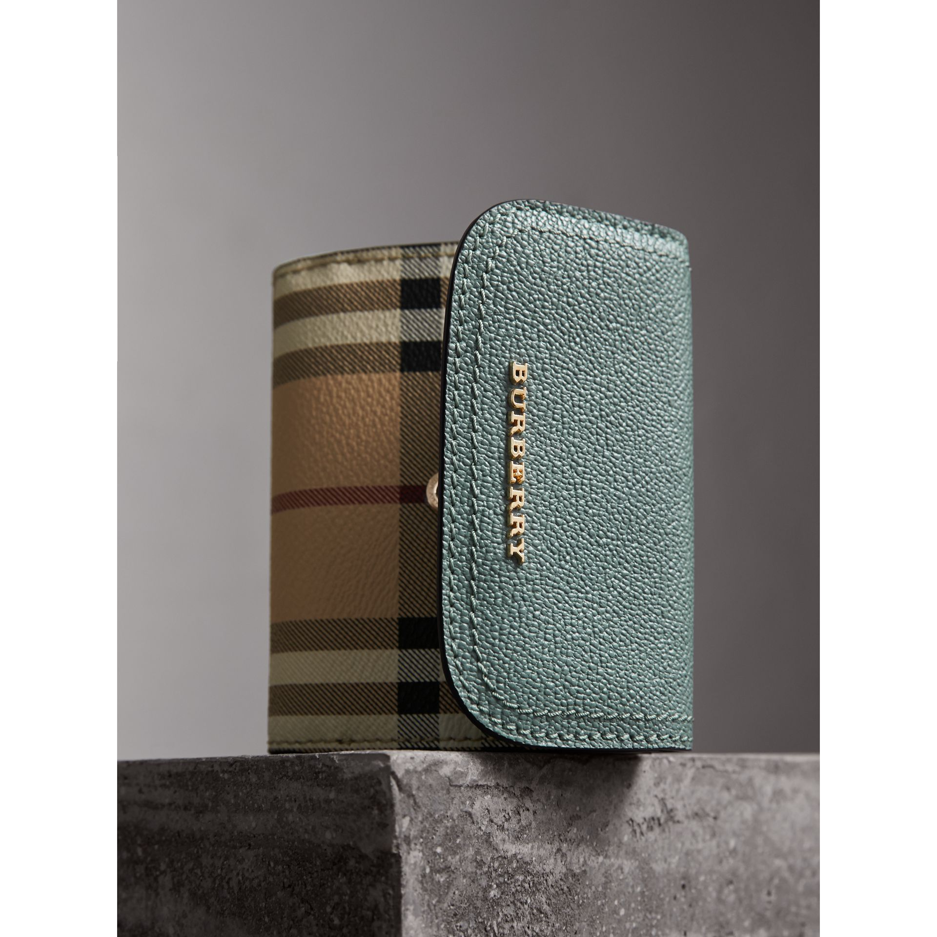 Leather and Haymarket Check Wallet in Eucalyptus Green/multicolour - Women | Burberry Australia - gallery image 5