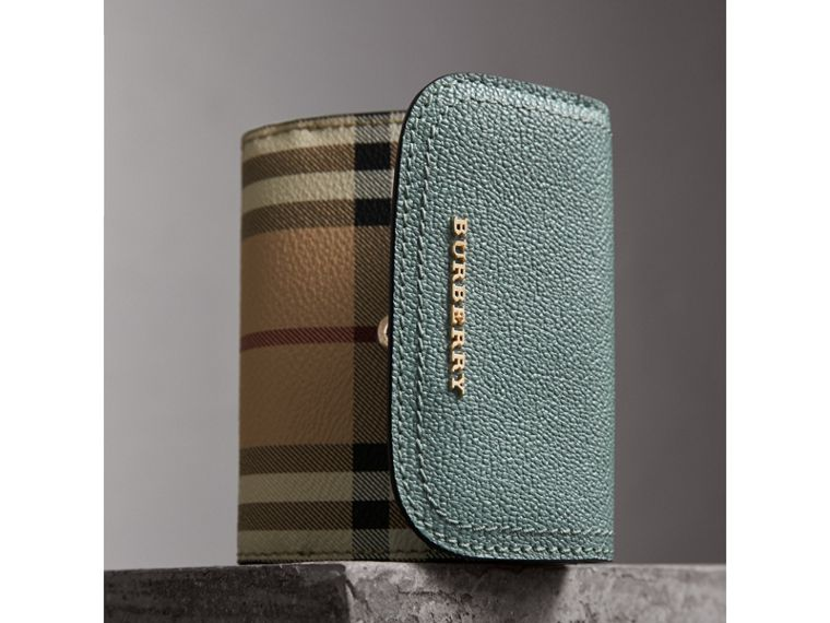 Leather and Haymarket Check Wallet in Eucalyptus Green/multicolour - Women | Burberry Australia - cell image 4