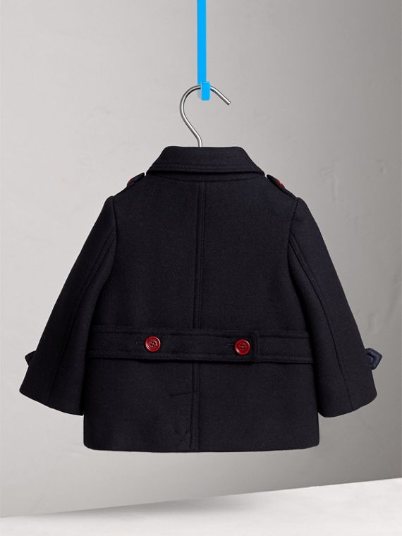 Resin Button Wool Cashmere Blend Pea Coat in Navy | Burberry - cell image 3
