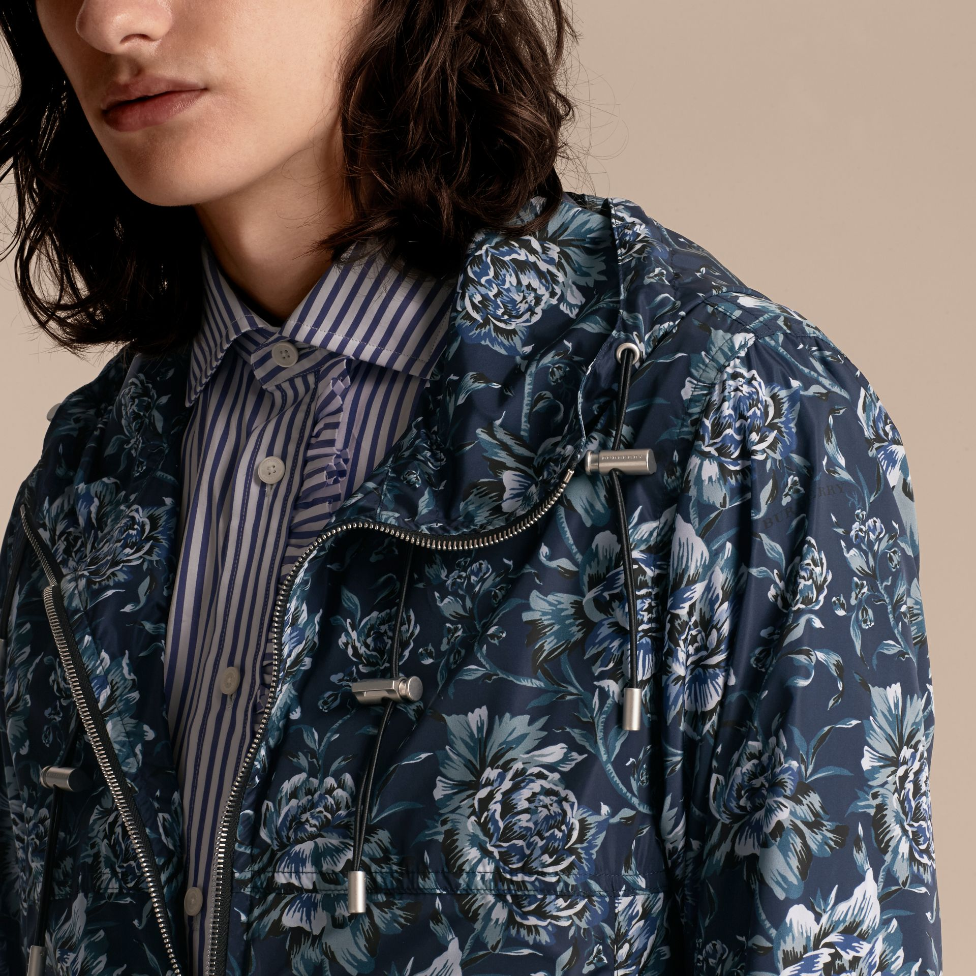 Ink blue Peony Rose Print Lightweight Jacket - gallery image 5