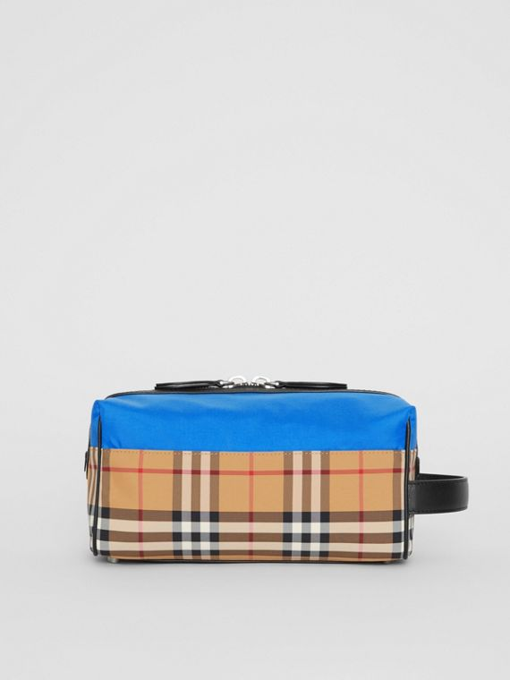 Vintage Check and Colour Block Pouch in Blue/vintage