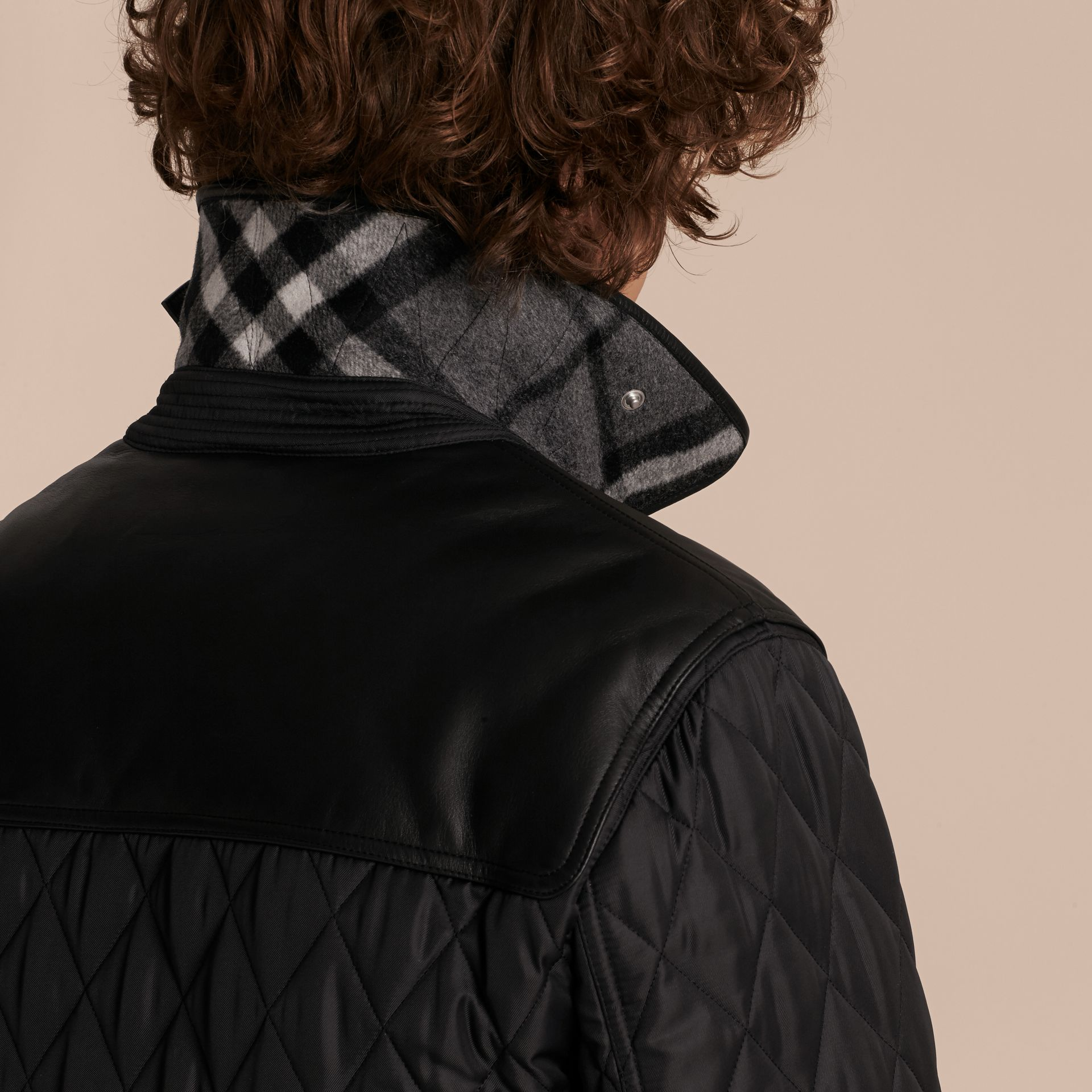 Black Lambskin Yoke Diamond Quilted Jacket - gallery image 6