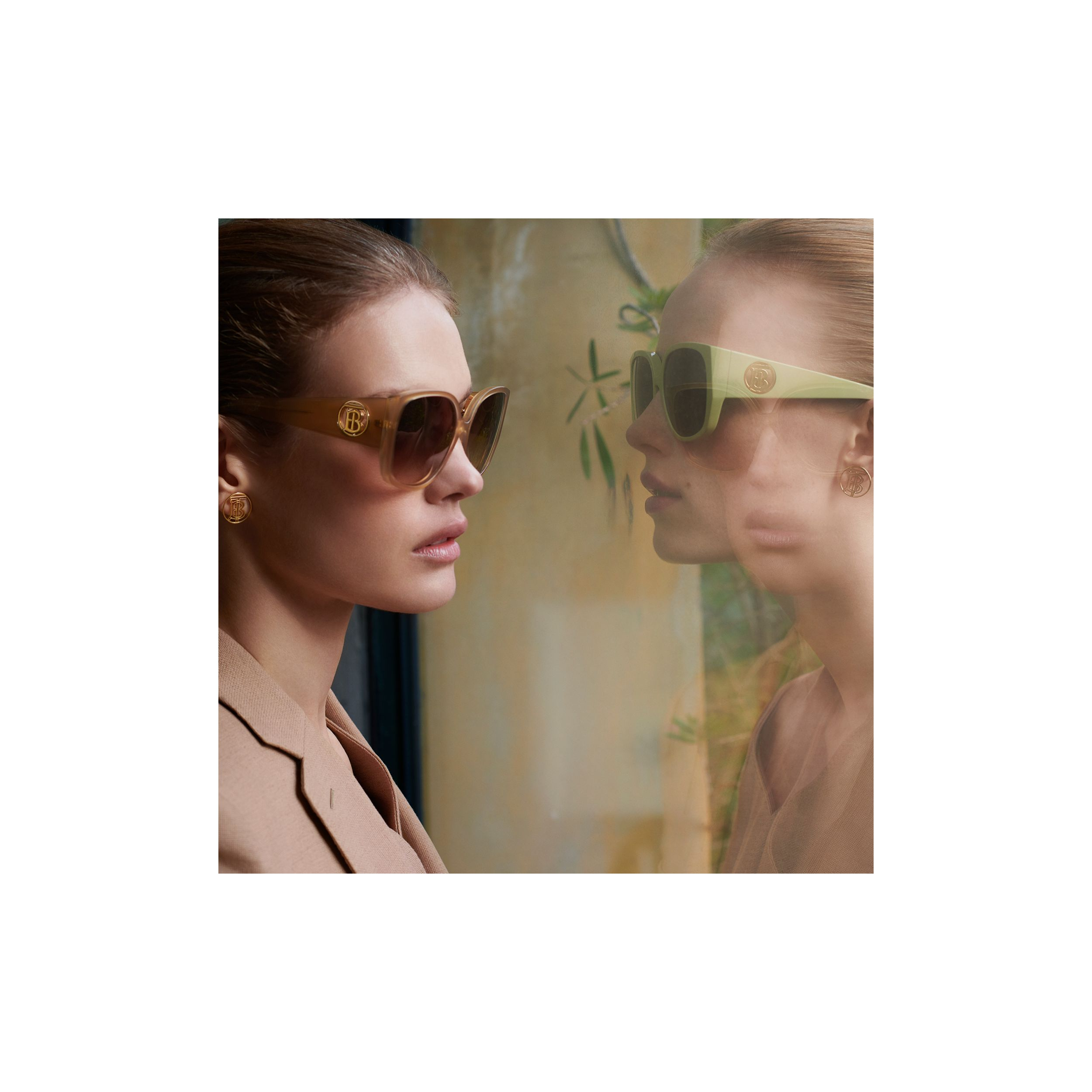 Oversized Butterfly Frame Sunglasses in Pistachio - Women | Burberry Hong Kong S.A.R. - 2