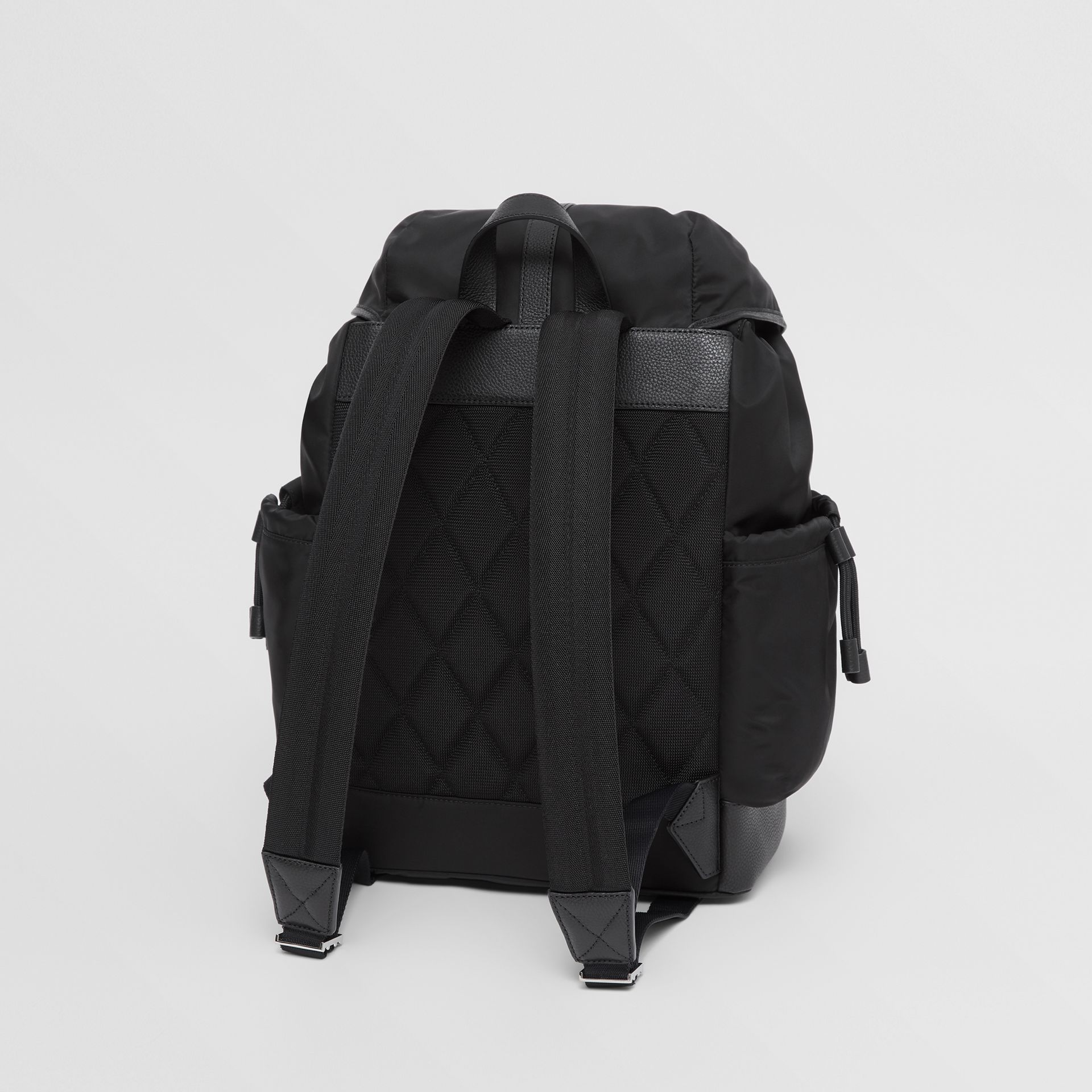 Leather Trim ECONYL® Baby Changing Backpack in Black - Children | Burberry - gallery image 2