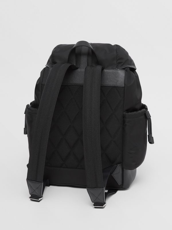 Leather Trim ECONYL® Baby Changing Backpack in Black - Children | Burberry - cell image 2