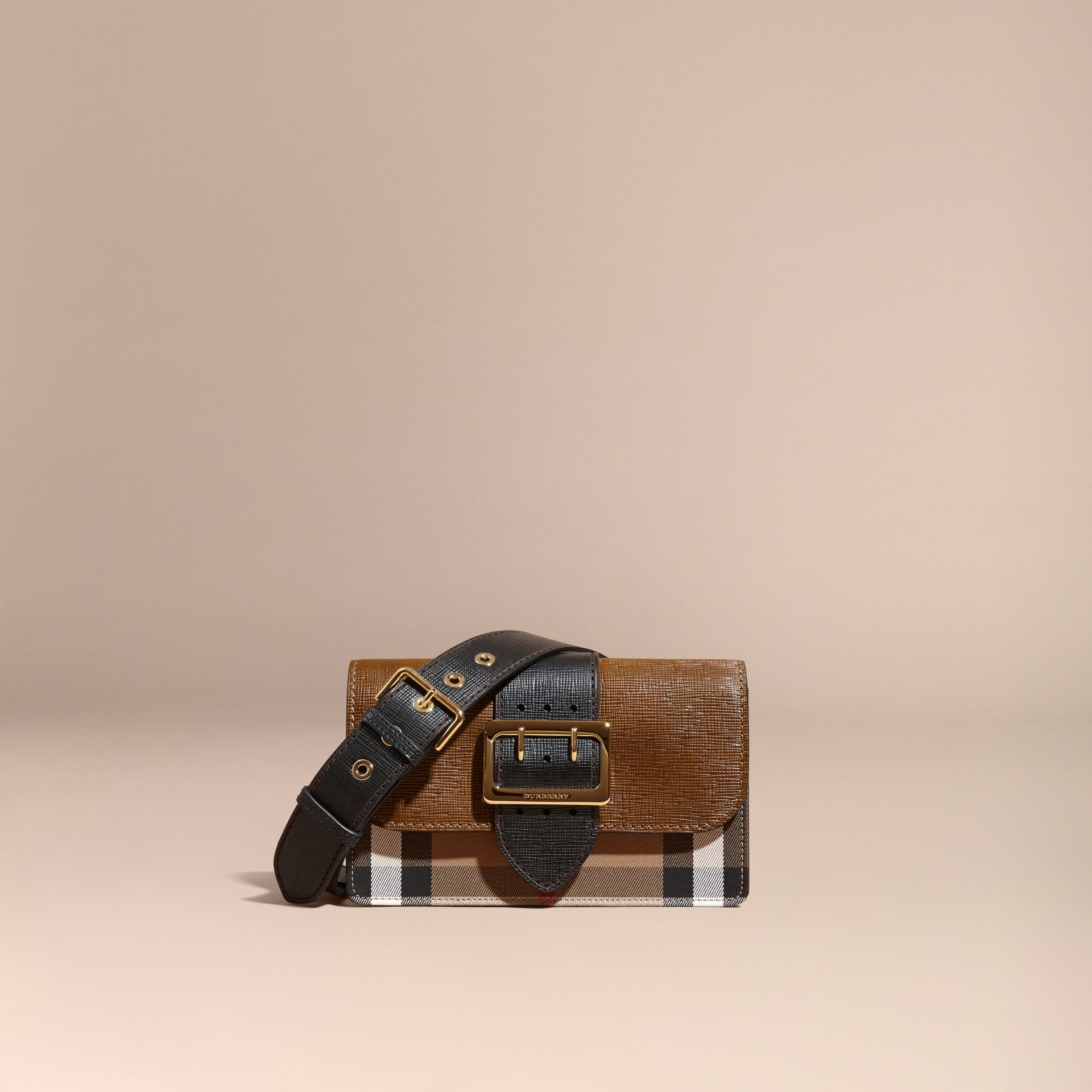 Tan/black The Medium Buckle Bag in House Check and Textured Leather Tan/black - gallery image 9