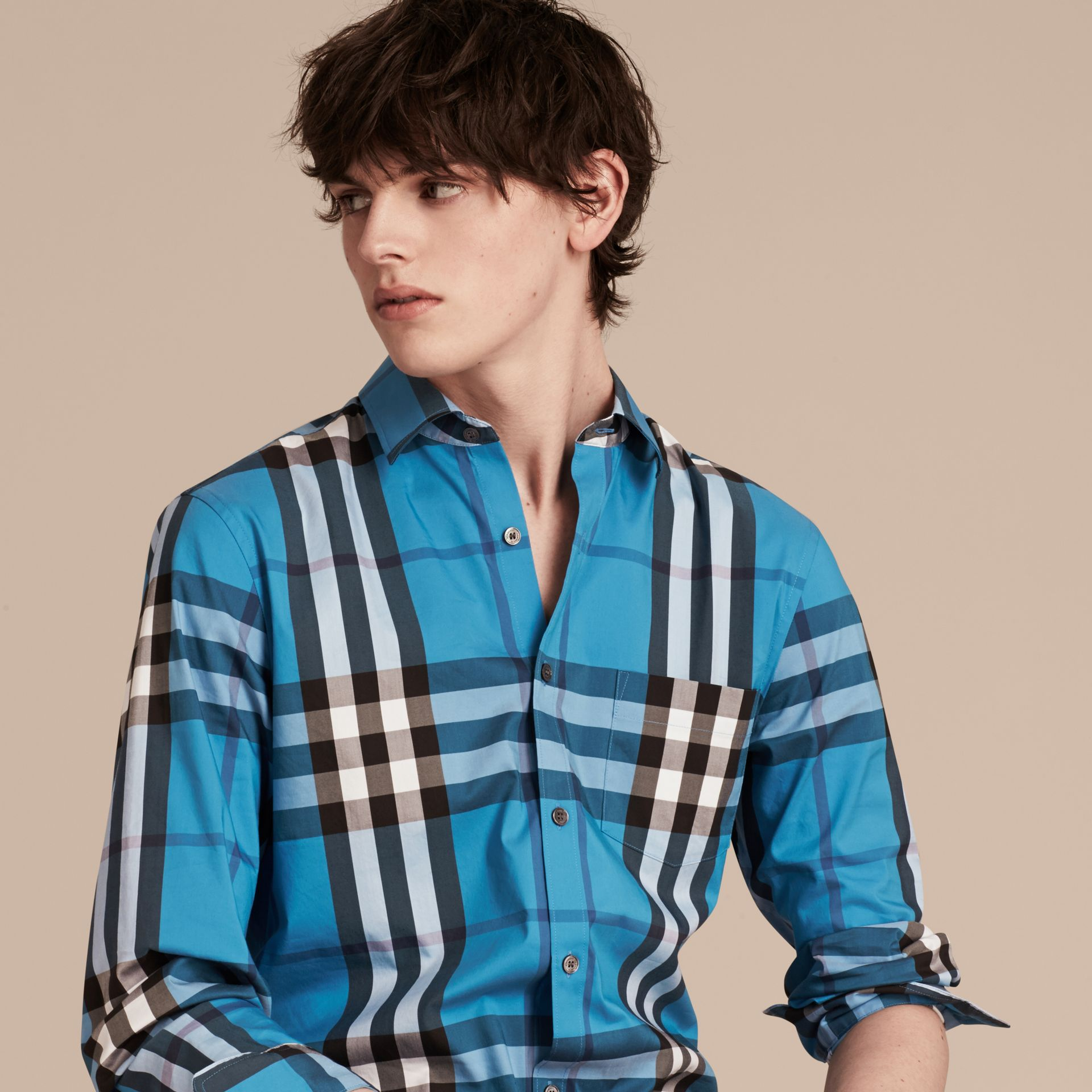Check Stretch Cotton Shirt in Bright Blue - Men | Burberry - gallery image 5