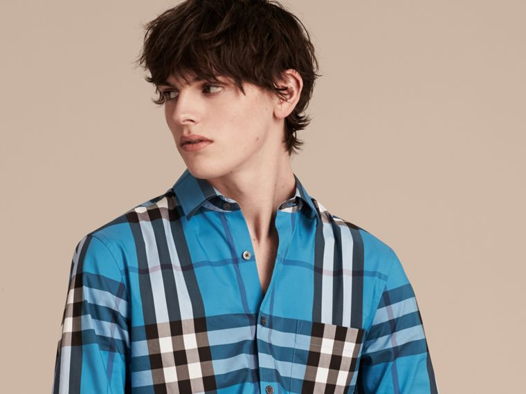 Camicia in cotone stretch con motivo tartan (Blu Intenso) - Uomo | Burberry - cell image 4